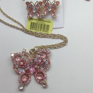 BetseyJohnsonNew Pink Butterfly Necklace & Earring